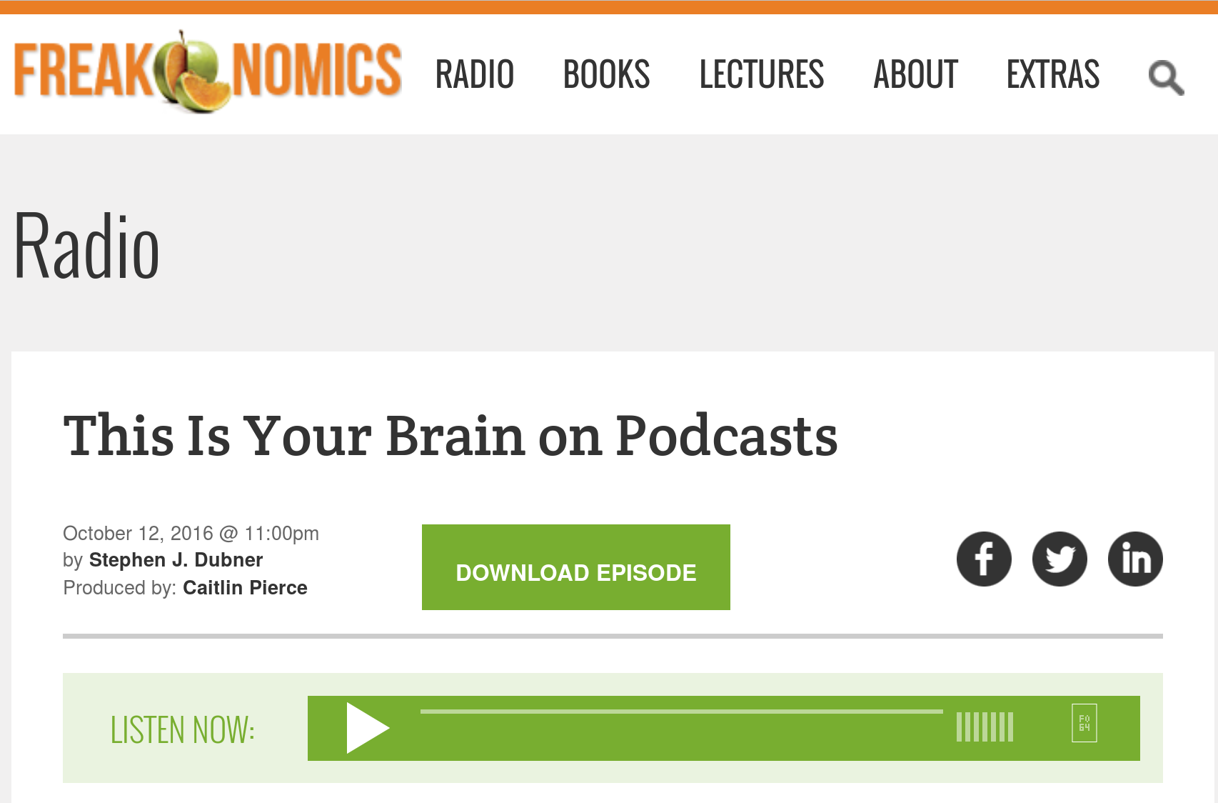 """Freakonomics"" radio interview with Jack Gallant"
